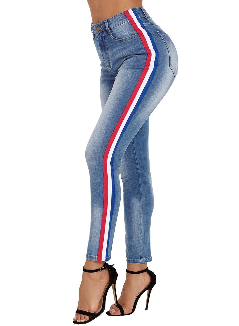 Striped Washed Skinny Jeans (LC786007-4-4)