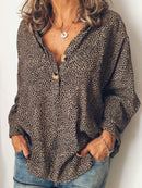 Long Sleeve Cotton-Blend V Neck Casual Blouse