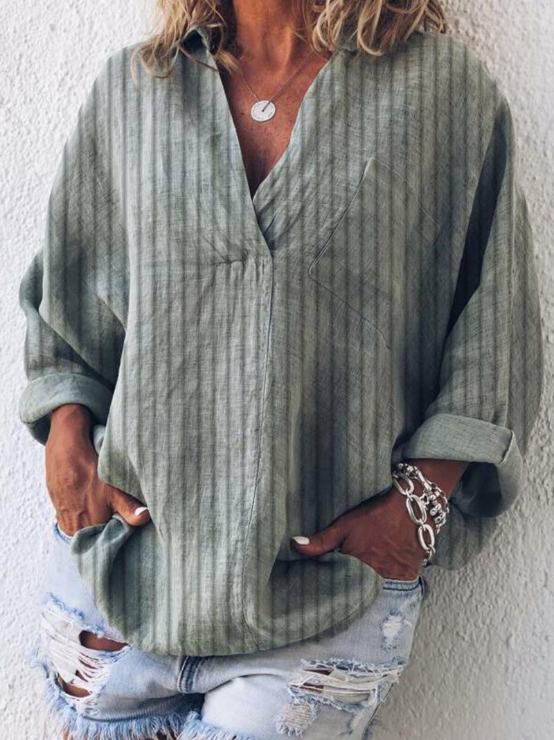 Striped Casual V Neck Long Sleeve Blouse