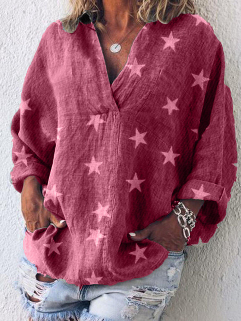 Long Sleeve Casual V Neck Solid Shirts & Tops-Top-Wotoba-Pink-S-Wotoba