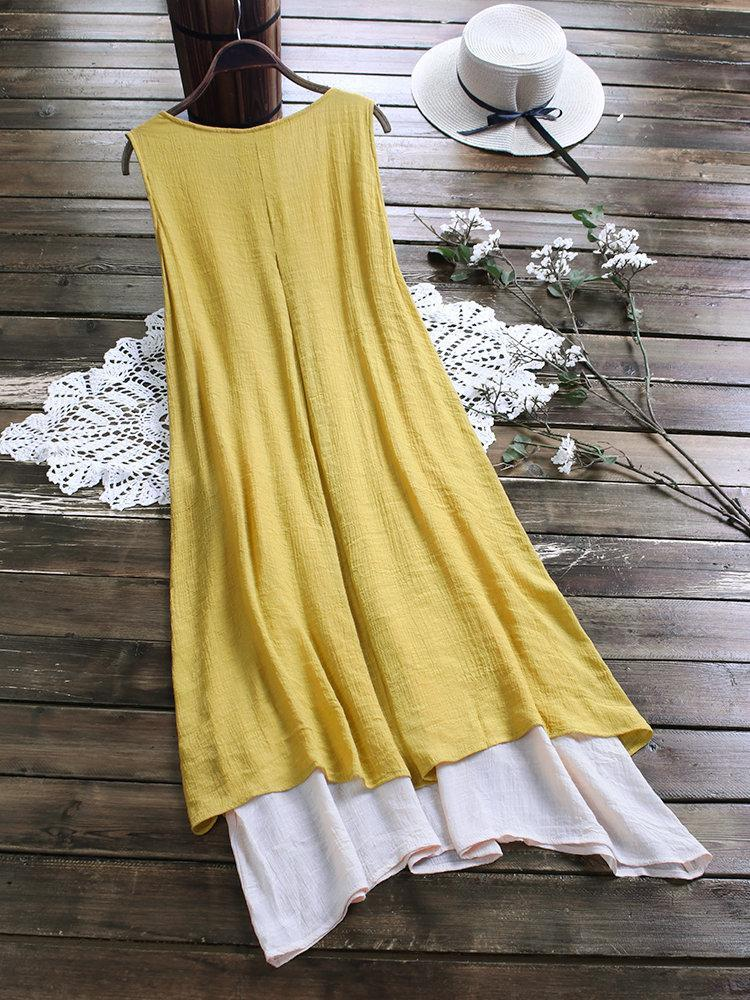 Vintage Patchwork Solid Color Irregular Hem Plus Size Dress with Pockets