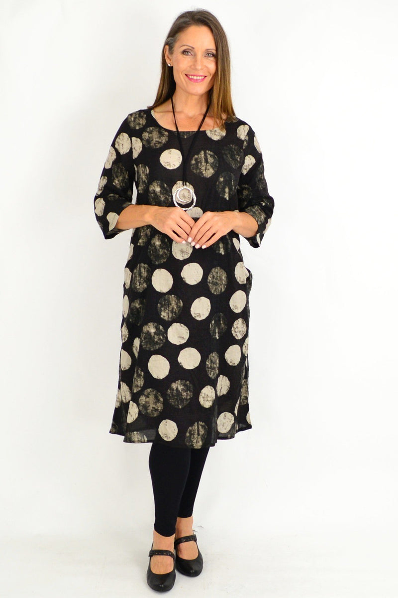 Black Laura Spot Tunic | I Love Tunics | Tunic Tops | Tunic Dresses | Women's Tops | Plus Size Australia | Mature Fashion