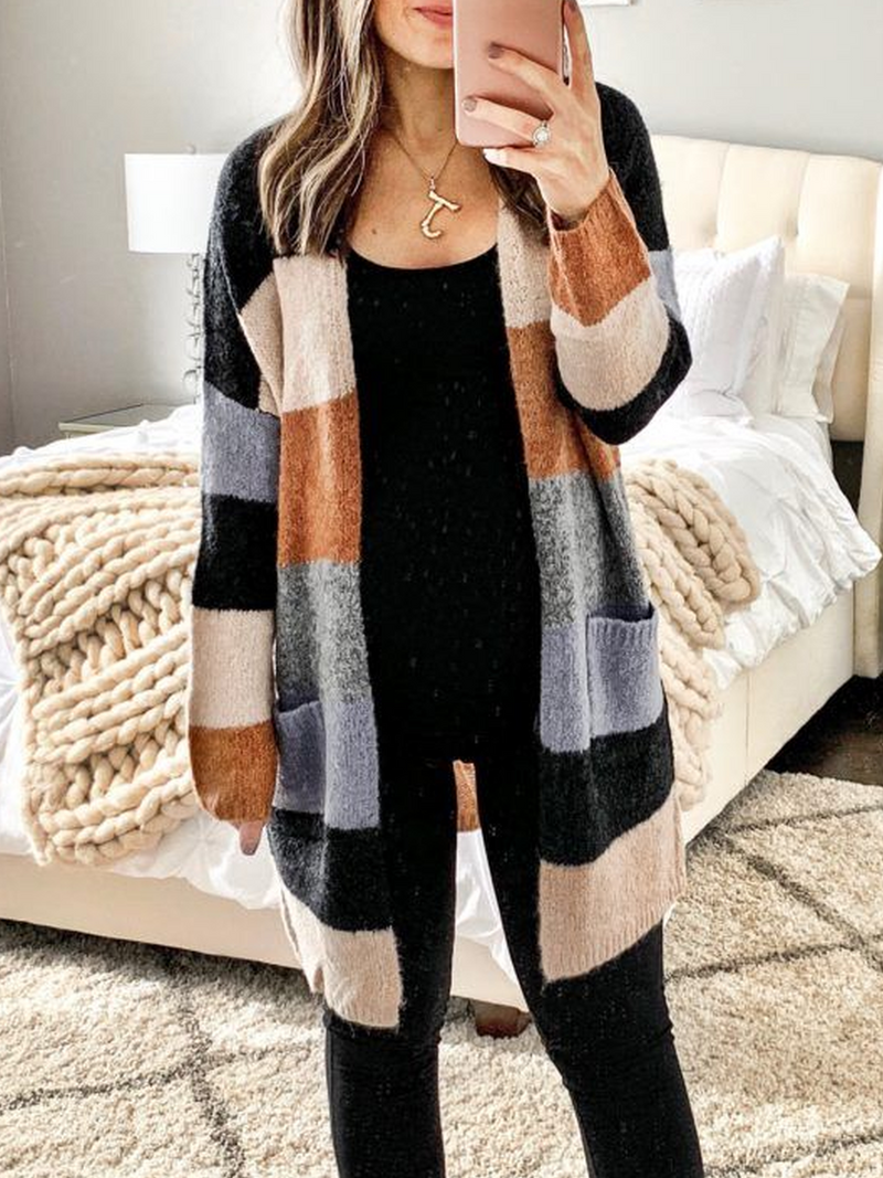 Apricot Knitted Long Sleeve Plus Size Outerwear