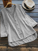 Vertical Striped V-neck High Low Long Sleeve Shirt