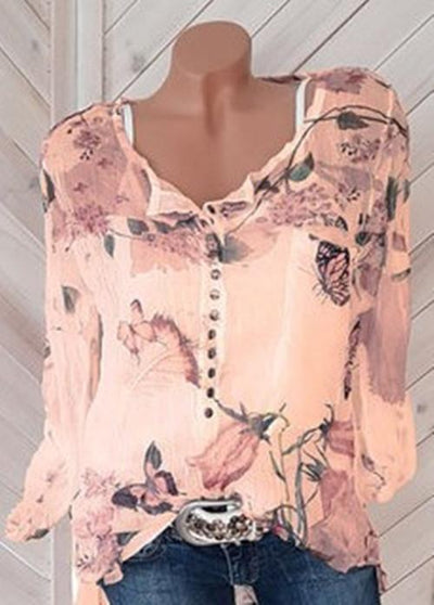 Floral Printed V-neck Long Sleeve Blouse