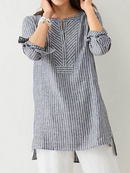 Women Striped Blouses Buttoned Stand Collar Slit Side Casual Shirt