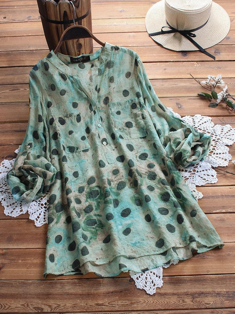 Bohemian Print Polka Dots Long Sleeve Button Casual Blouse