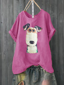Cartoon Dog Print Short Sleeve Casual T-shirt For Women