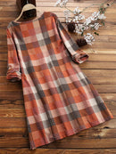 Multi-color Plaid Print Long Sleeve Casual Blouse For Women