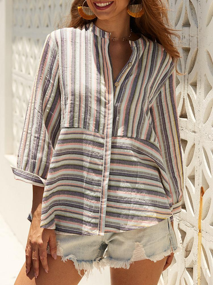 Chic Striped 3/4 Sleeve Button Down Casual Blouse