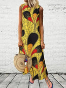 Ethnic Print Split Neck Maxi Casual Dress