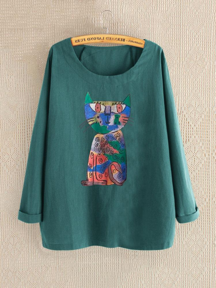 Crew Neck Cartoon Cat Print Long Sleeve Blouse For Women