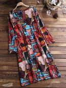 Casual Print O-Neck Long Sleeve Plus Size Dress