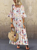 Floral Print Pleated Casual Summer Dress