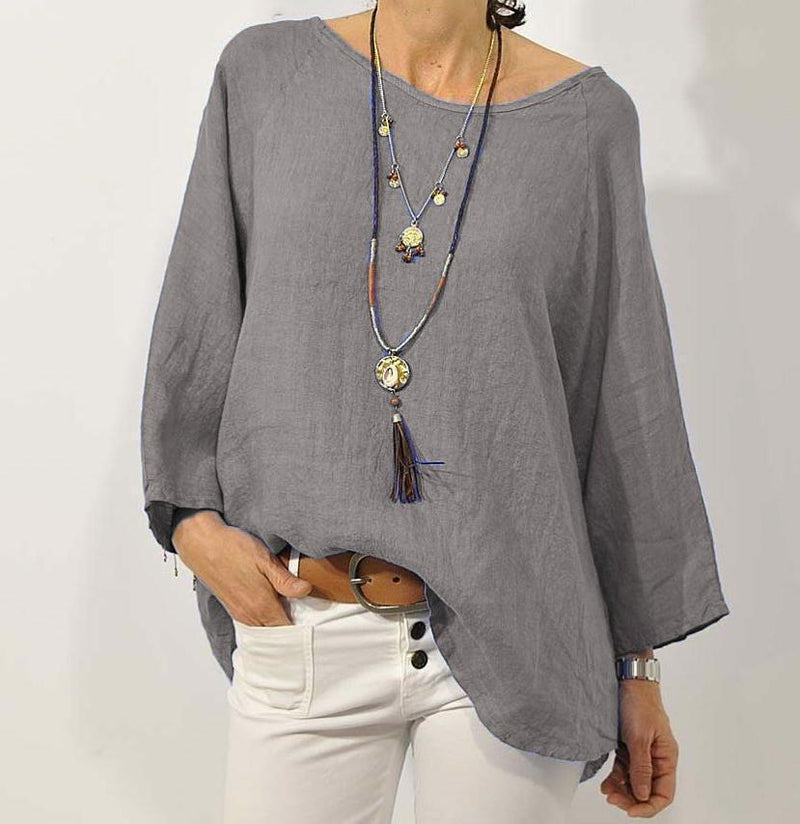 Plus Size Casual Solid Long Sleeve Blouse