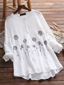 Long Sleeve Buttoned Sweet Crew Neck Blouse