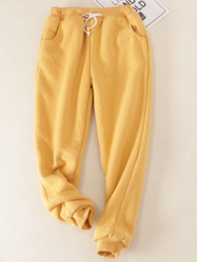 Solid Fleeced Cotton Pants