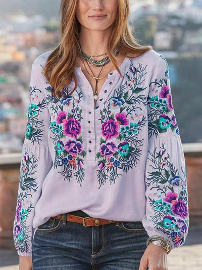 Women Boho Blouses Casual V Neck Long Sleeve Embroidery