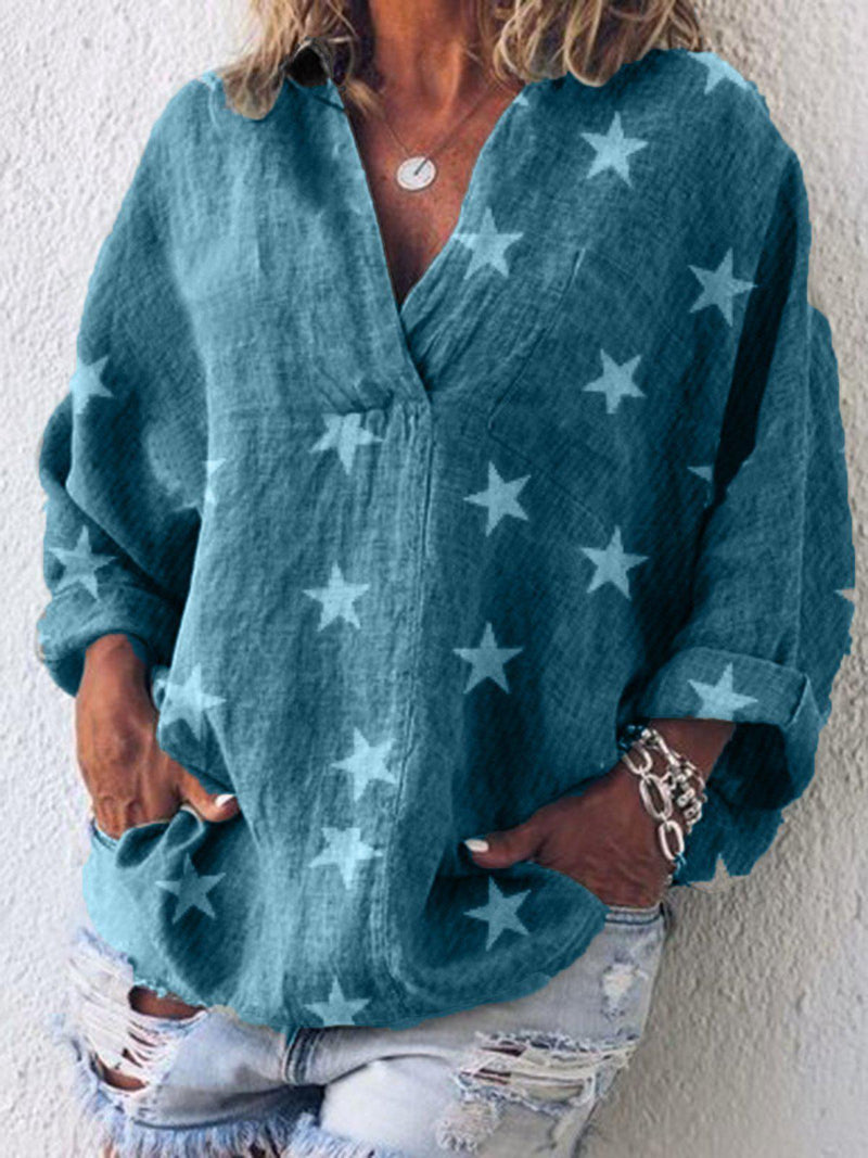 Long Sleeve Casual V Neck Solid Shirts & Tops-Top-Wotoba-Blue-S-Wotoba