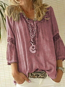 Women Blouse Coffee Casual 3/4 Sleeve Blouse