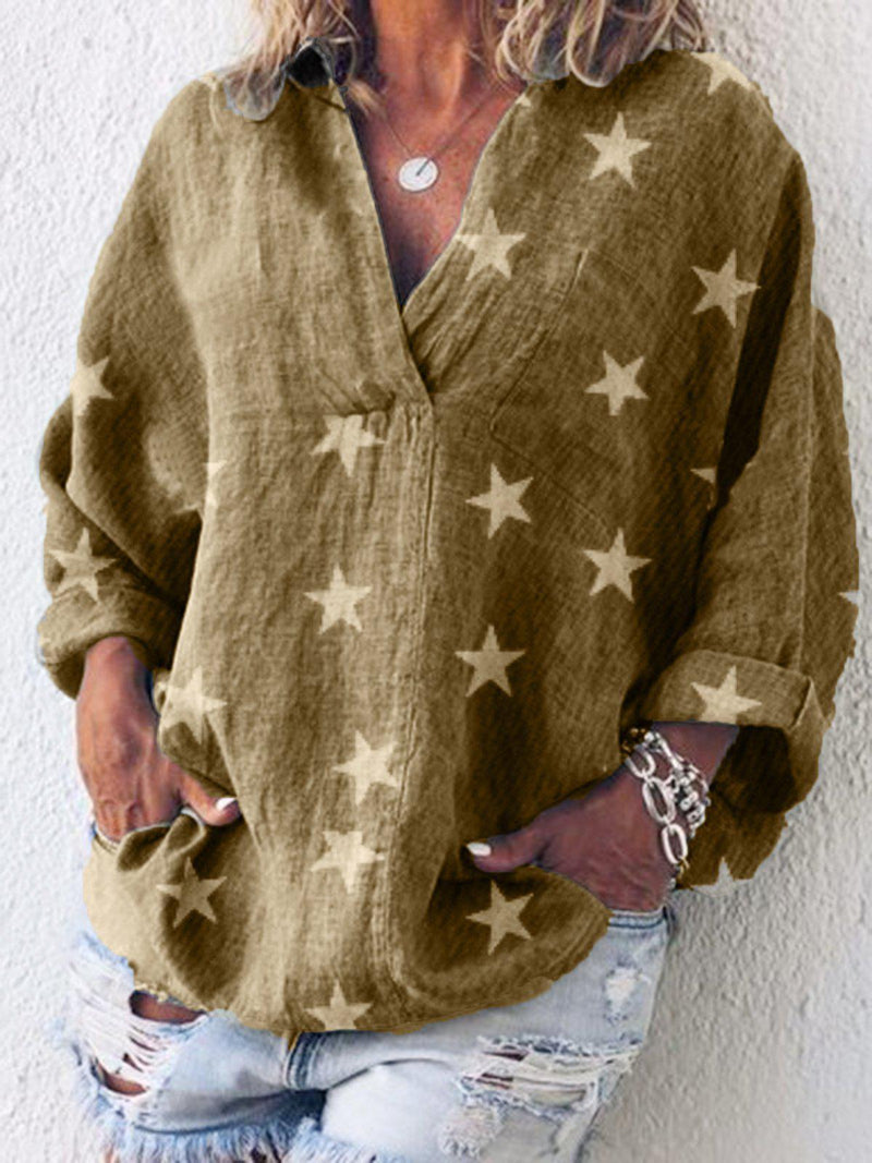 Long Sleeve Casual V Neck Solid Shirts & Tops-Top-Wotoba-Brown-S-Wotoba