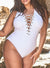CEO WHITE LACE UP ONE PIECE SWIMSUIT