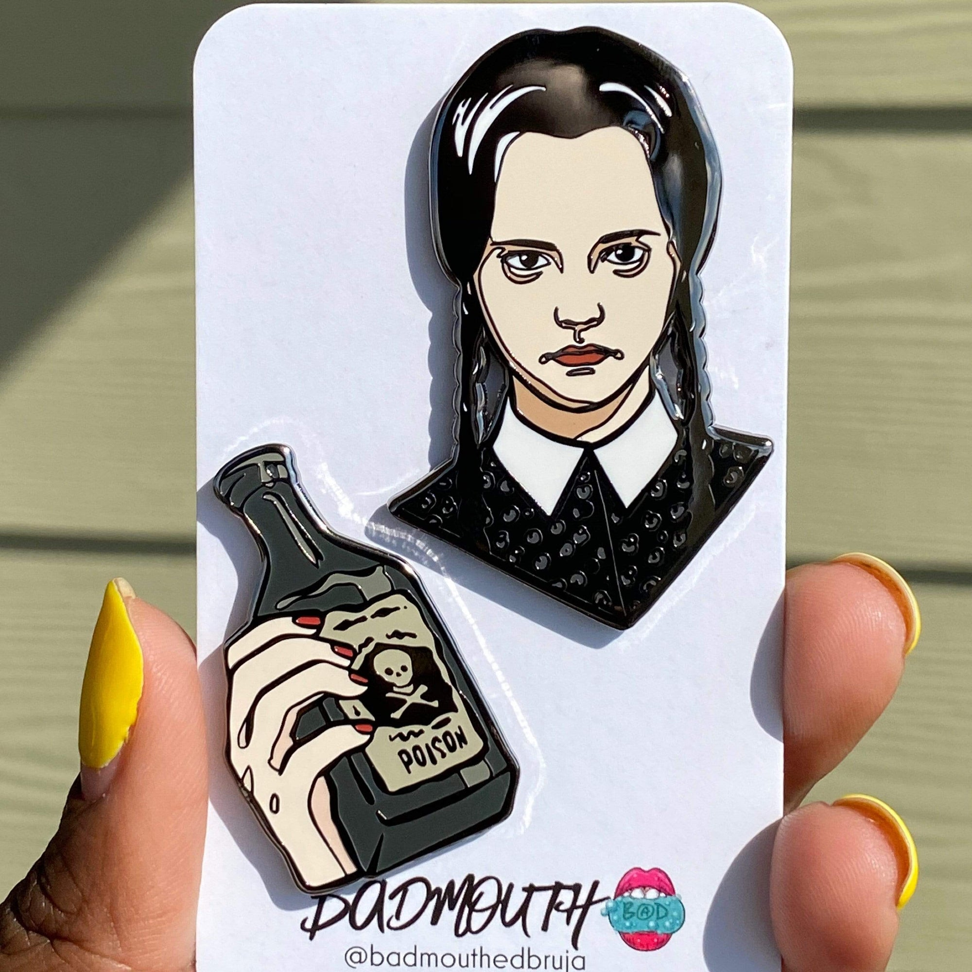 goth enamel pin wednesday addams