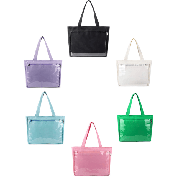 clear display pin tote bag