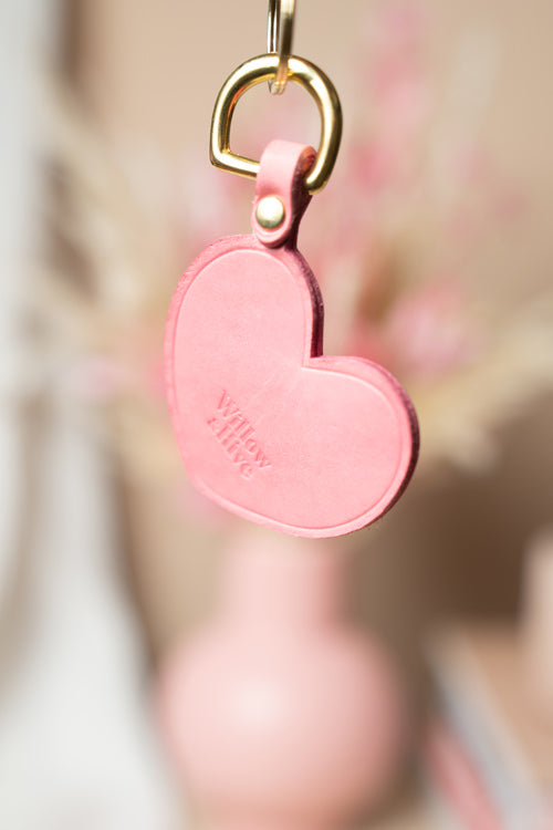 Pink Heart with Brass Hardware Keychain