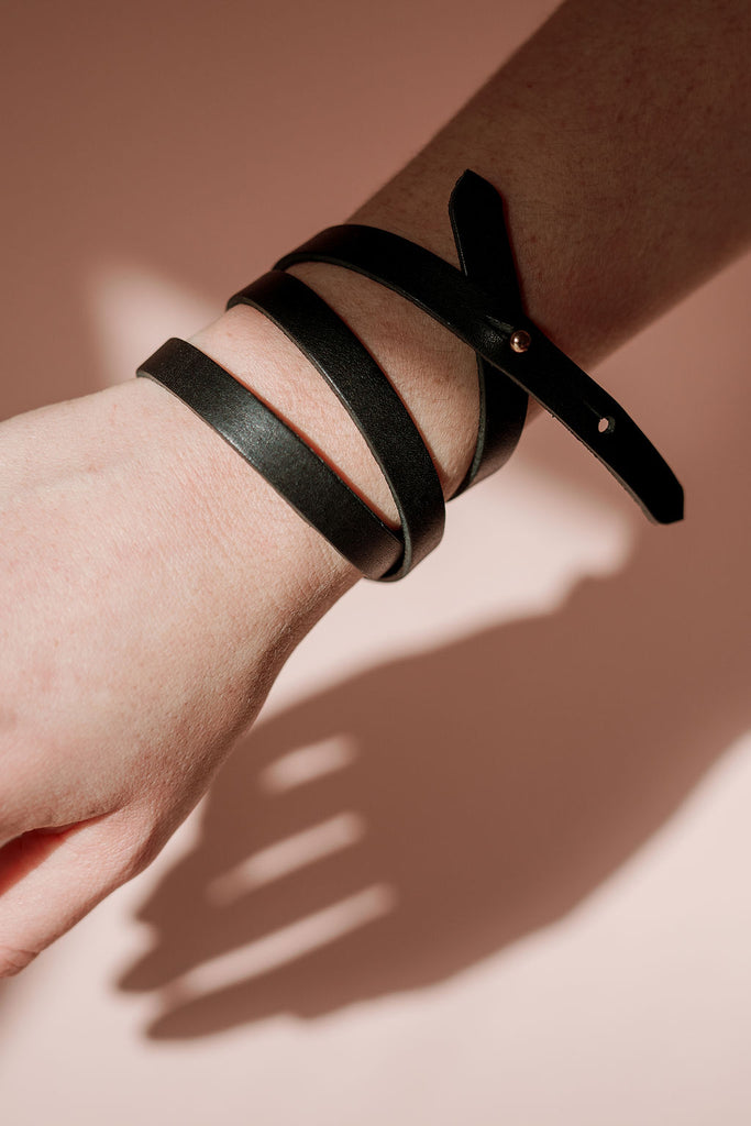 Black  'Athena' Leather Bracelet