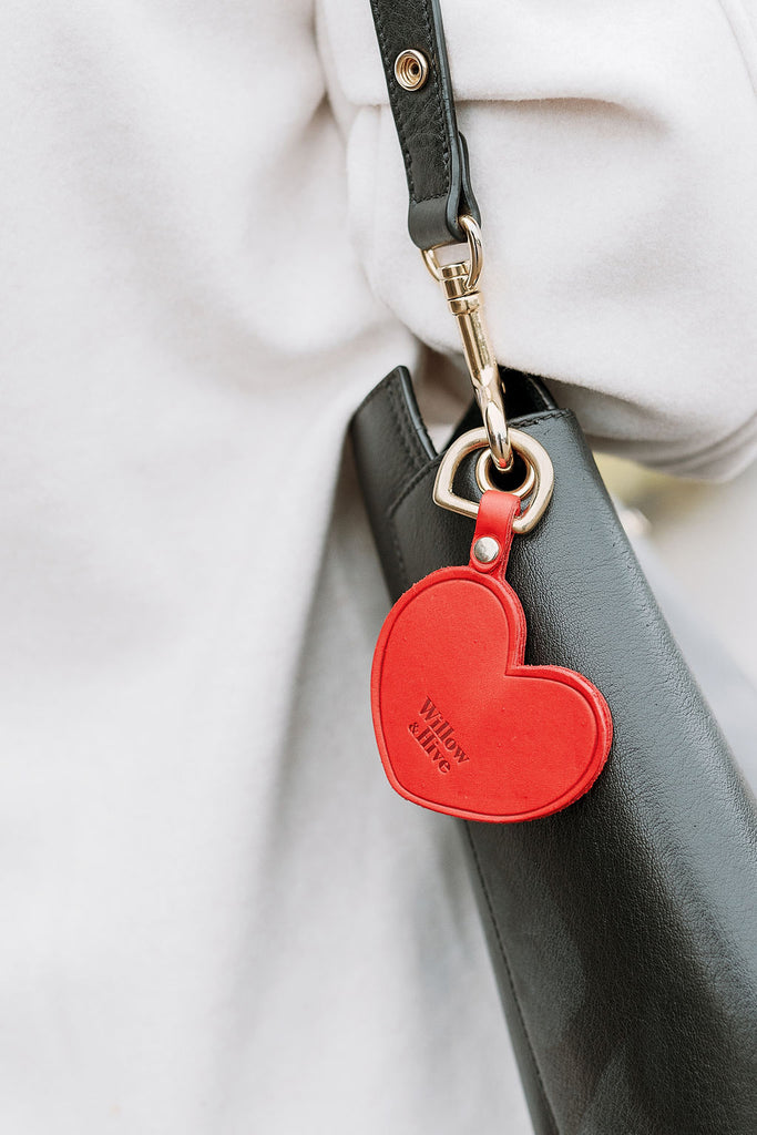 Red Heart with Brass Hardware Keychain