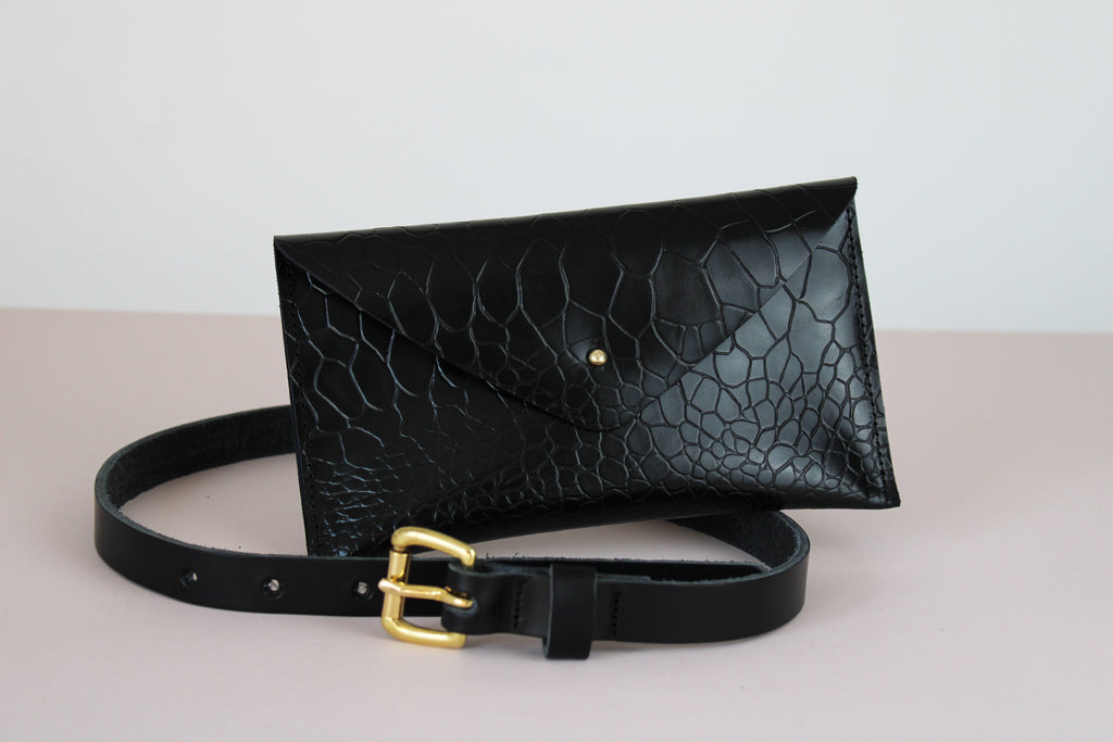 Black Textured Belt Bag