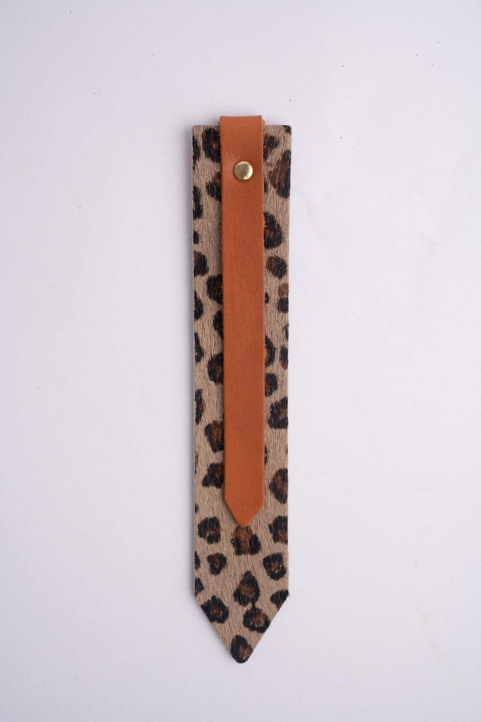 Tan and Leopard Pattern Colour-Block Bookmark