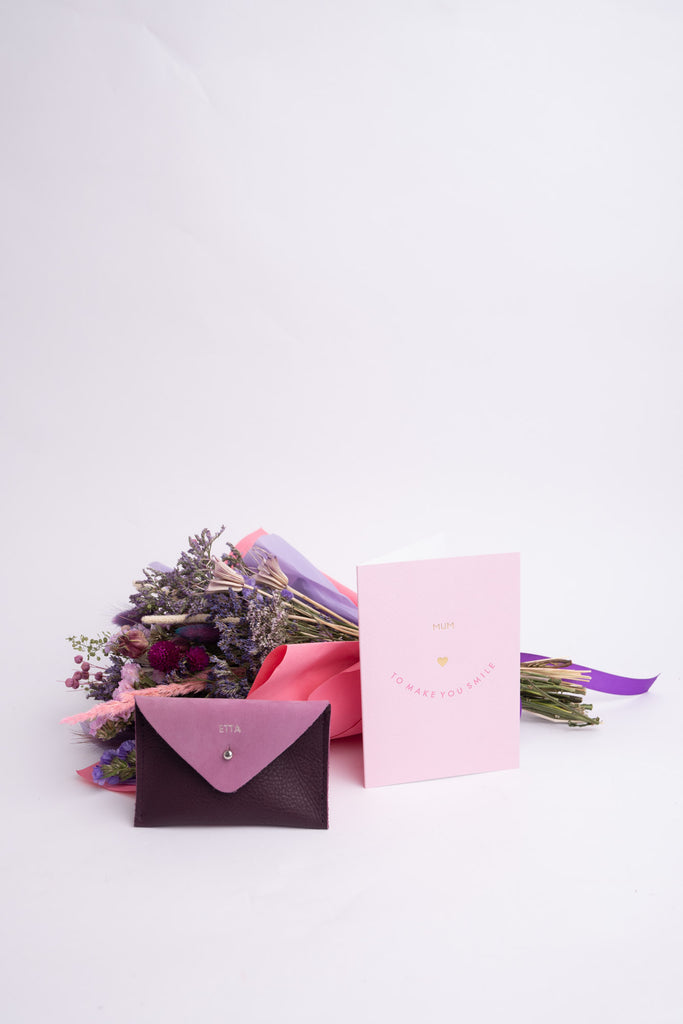 Dried Flower Bouquet and Personalised Mini Purse Gift Set