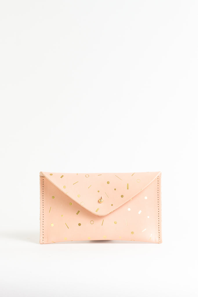 Geometric Gold Foil Pattern Leather Purse