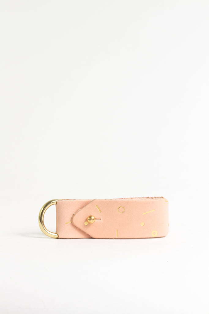 Geometric Gold Foil Keyring with Brass Hardware