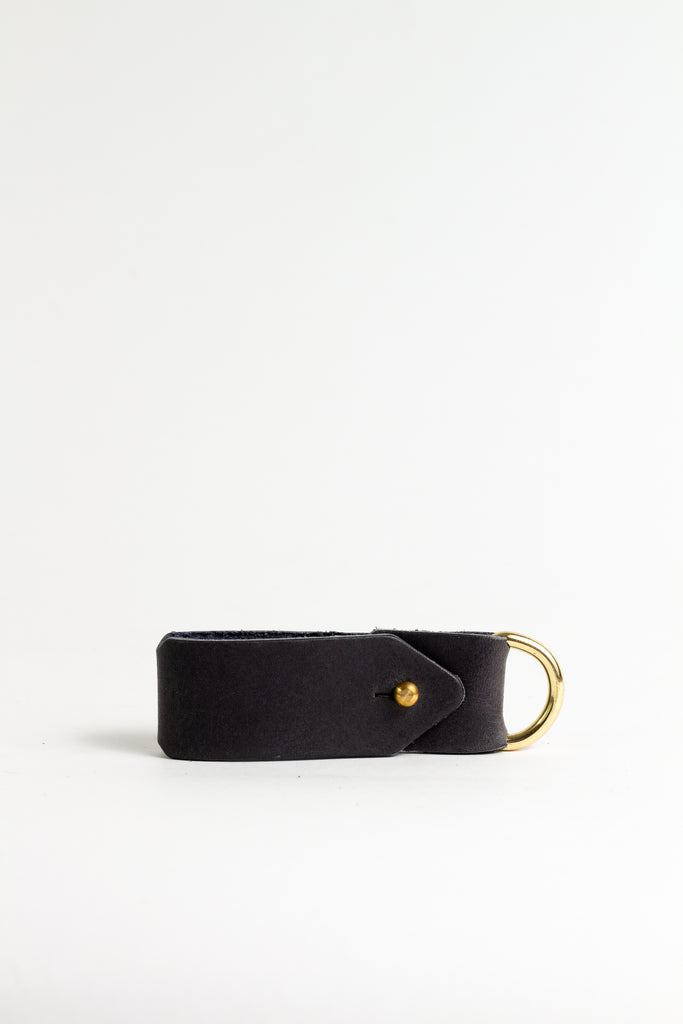 Black Keyring with Brass Hardware