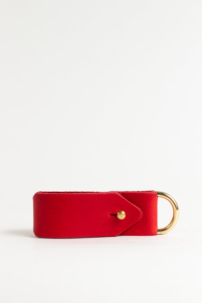 Red Keyring with Brass Hardware