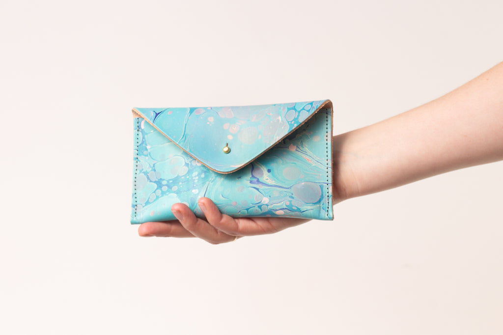 Blue Hand Marbled Purse - (One of a Kind)