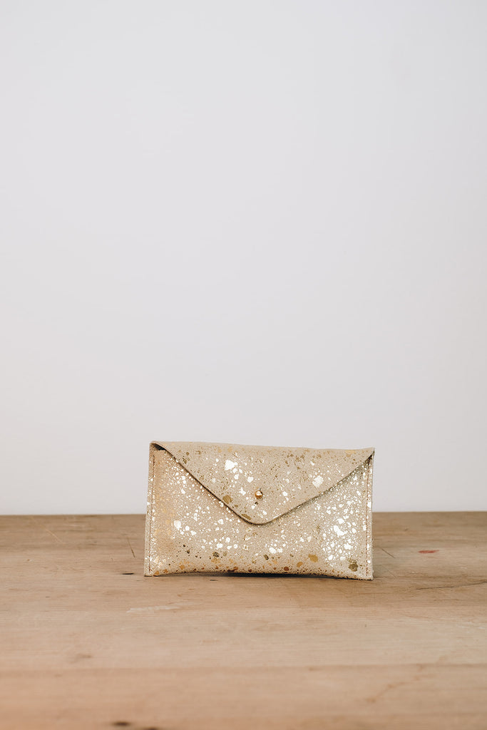 Gold Sparkle Suede Purse