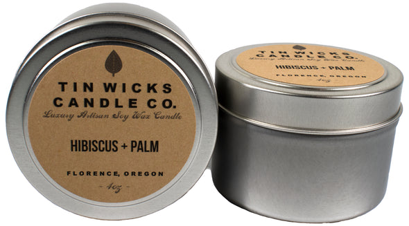 Candles - Hibiscus and Palm candle tin