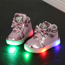 Cartoon Kt Cat Bow Children Sneakers With Light Led Emitting Lights Up Casual Shoes 21-25