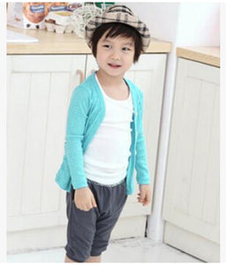cotton candy-colored cardigan boys girls sweater