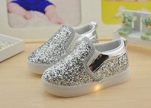 Boys Girls Led Light Up PU Leather Children Shoes  Size 21-30