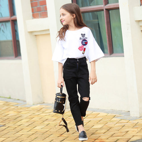 T-Shirt with Denim Pants 2pcs Clothing Set Age 8 10 12 15 Years