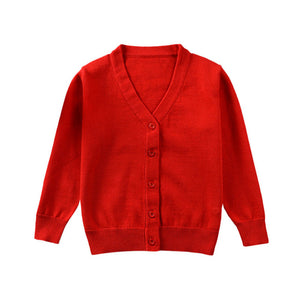 Boys Girls Candy Color Knitted Cardigan