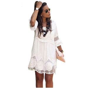 Lace dress Summer casual half sleveve hollow out mini  6xl dress