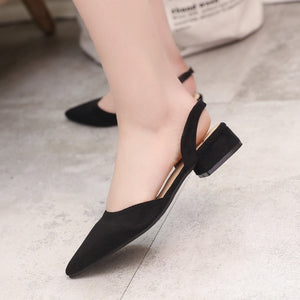 Ankle Strap Thick Heel Women Shoes Square Toe Mid Heels