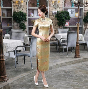 Traditional Chinese style Cheongsam Dresses Women Short Sleeve
