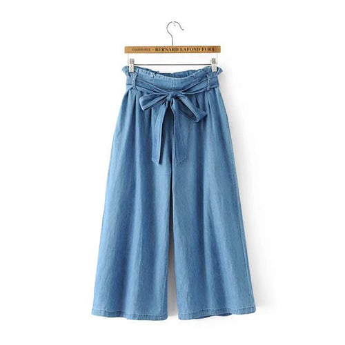 Solid Jeans Wide Leg Pants Bow Tie Sashes Style Loose Ankle-Length Pants